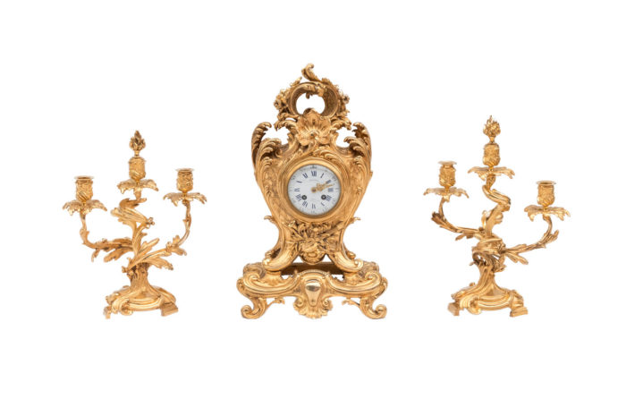 mantel clock garniture rocaille gilt bronze richon
