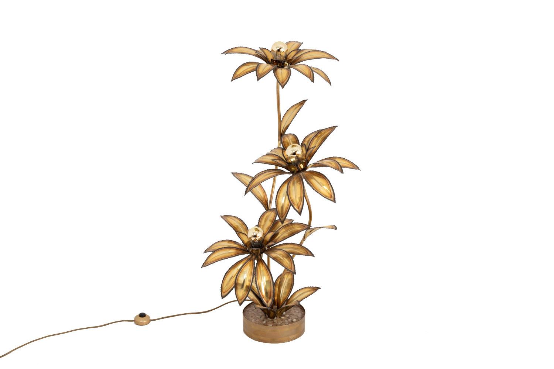 lampe fleur laiton doré maison jansen