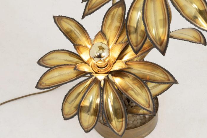 lampe fleur laiton doré maison jansen détail dessous