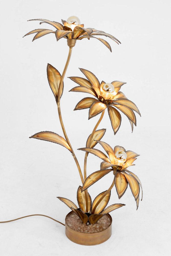 lampe fleurs maison jansen laiton doré profil