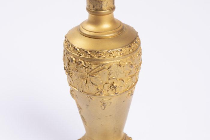 lampe louchet bronze doré fleurs aubépine