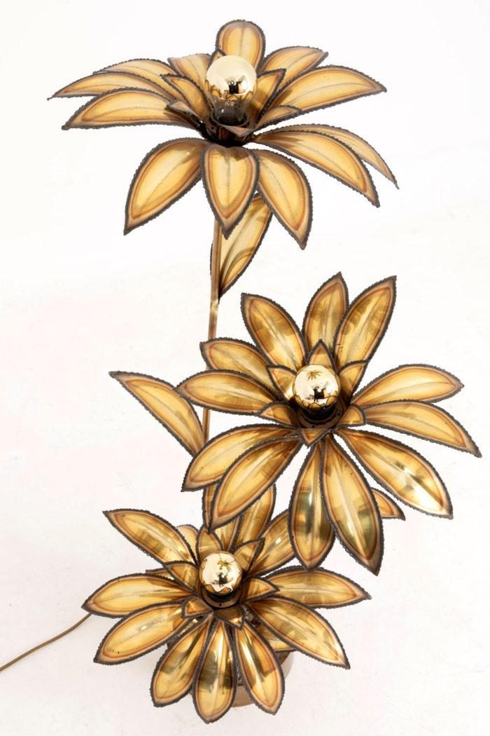 lampe maison jansen fleurs laiton doré dessus