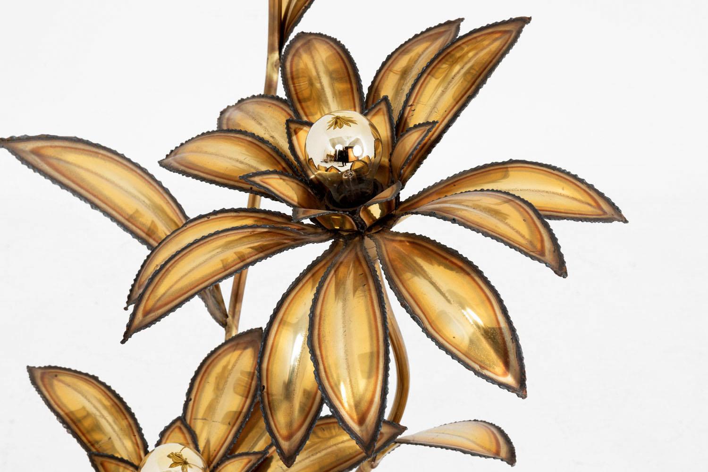 lampe maison jansen laiton doré fleur 2