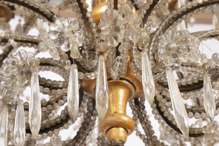 genoese chandelier below rosettes and pampilles