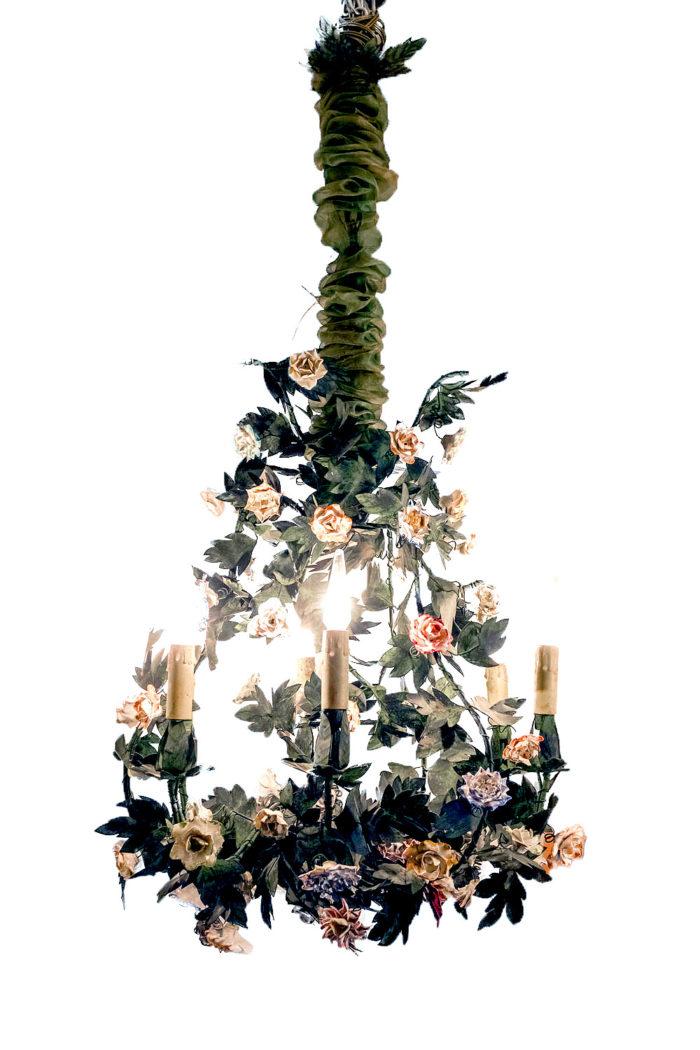 lustre metal fleurs porcelaine meissen
