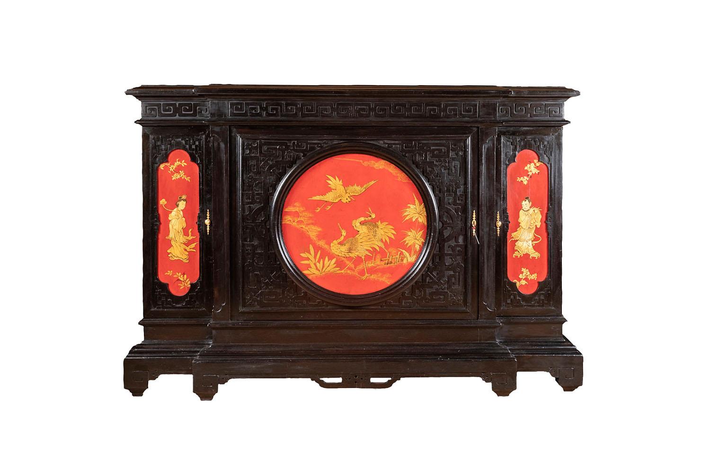 meuble chinoisant laque rouge noir or pcple