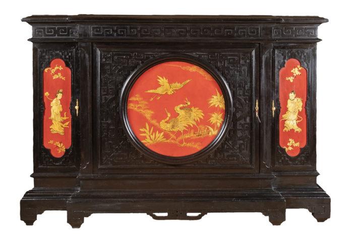 meuble d'appui laque noire rouge or