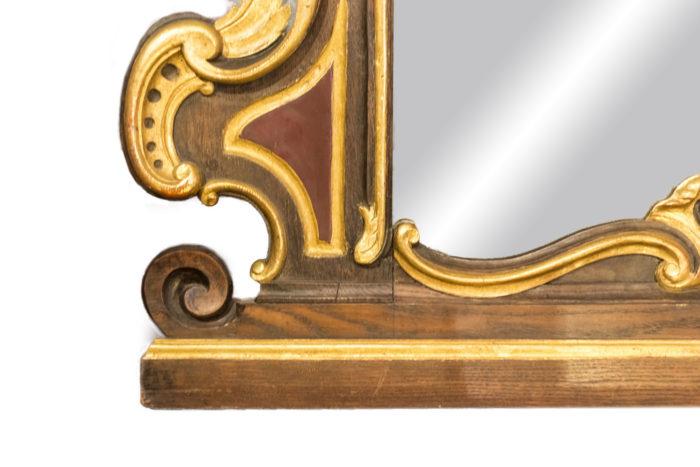 miroir rococo bois doré moulure et volute