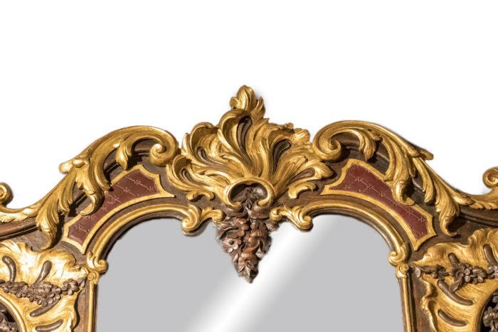 miroir rococo coquille cartouche partie haute