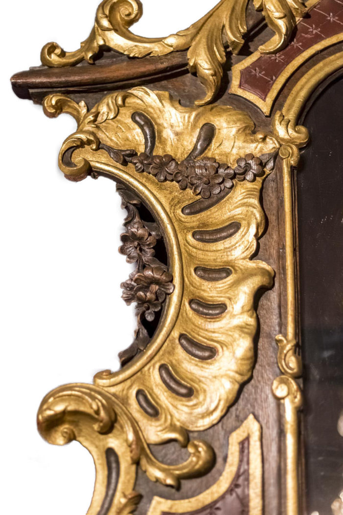 miroir rococo crête de coq et fleurs