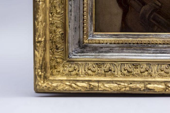 p.robert huile sur panneau cadre sculpté argent et or