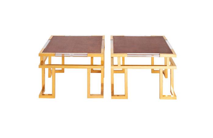 paire bouts de canapé laiton doré guy lefèvre jansen photo pcple