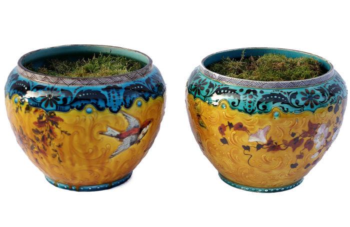 Théodore Deck paire de cache-pots porcelaine