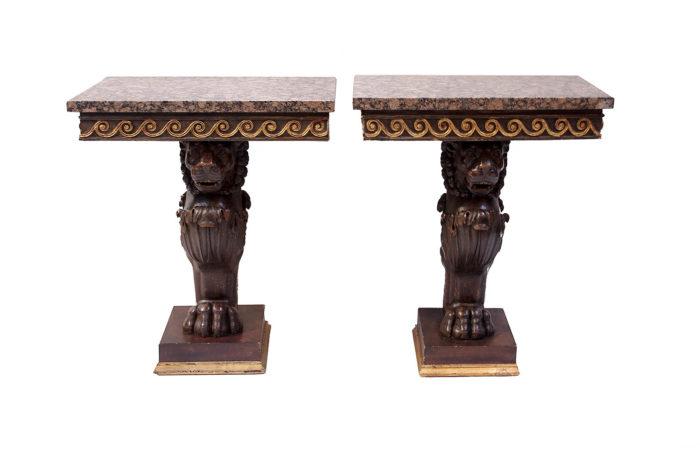paire consoles lion style pompéien bois laqué
