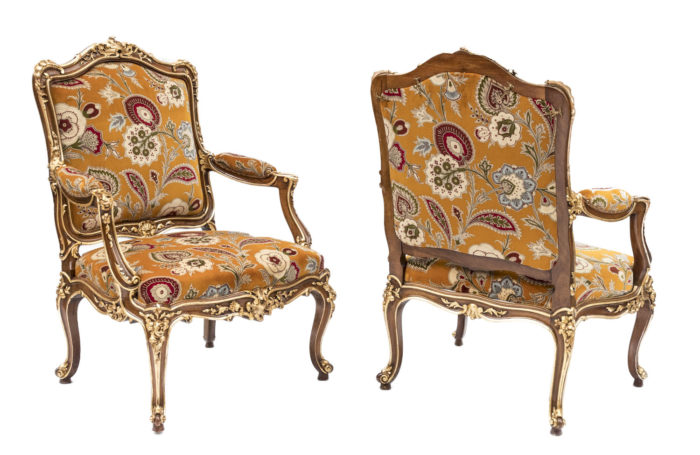 pair louis xv style à chassis armchairs natural walnut