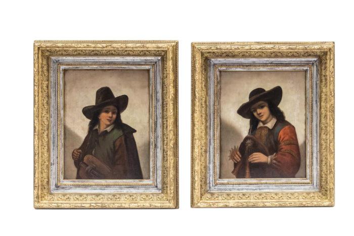 paire portrait huile sur panneau p.robert