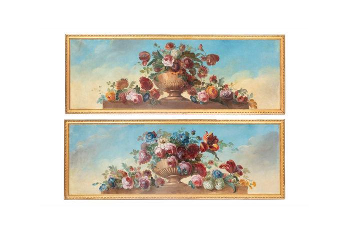paire toiles bouquets de fleurs dessus de porte pcple