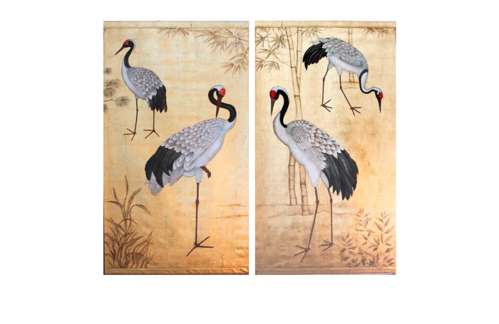 pair raw canvas cranes gilt background