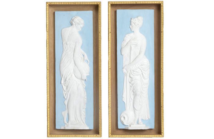 pair of vestals terracotta wedgwood style