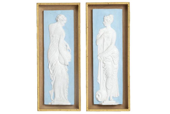 pair of vestals terracotta wedgwood style goujon