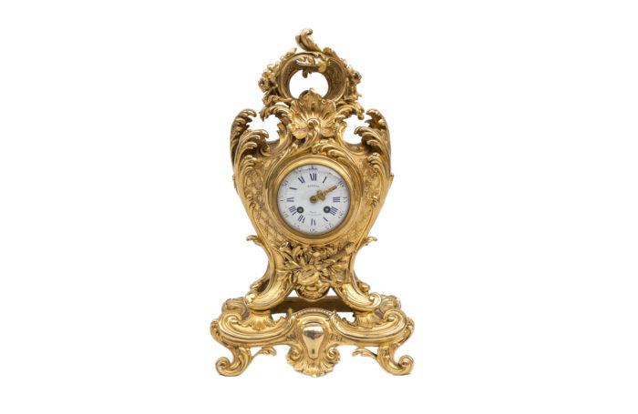 mantel clock rocaille garniture louis xv