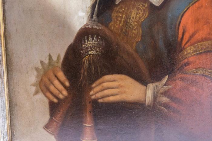 portrait enfant huile sur panneau détail bombarde