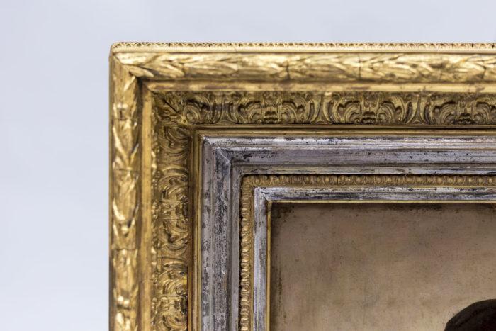 portraits huile sur panneau p.robert cadre or et argent
