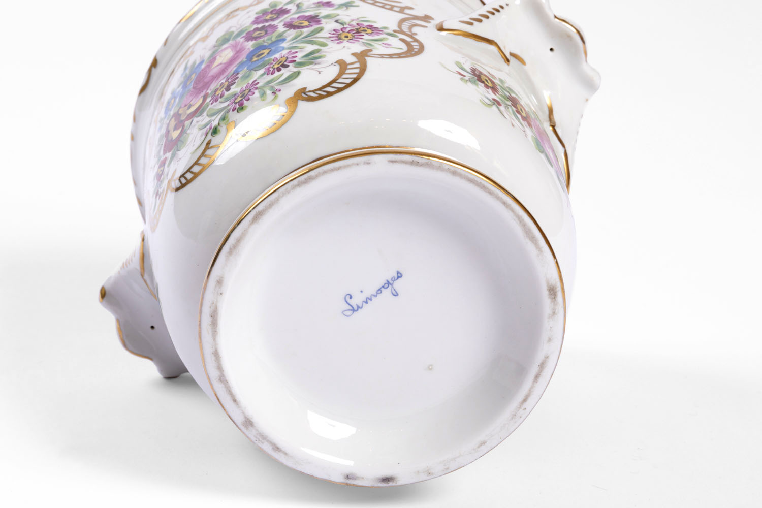 Pair of flowered Limoges porcelain coolers, early 20th century