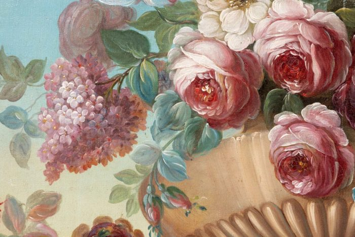 roses hortensia vase godrons