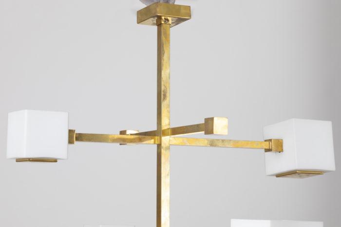 suspension laiton doré cube verre partie haute