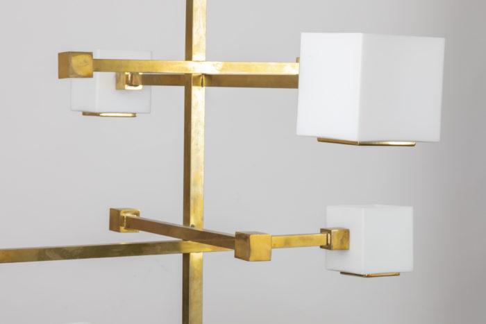 suspension laiton doré détail cub en verre milieu