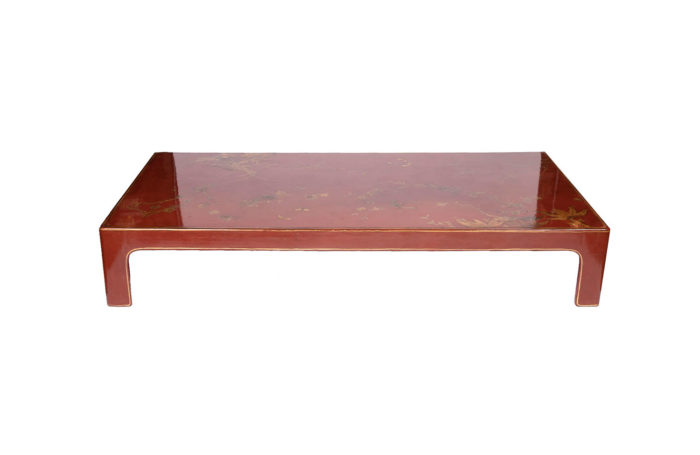table basse laquée rouge face
