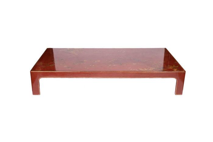 table basse laquée rouge face