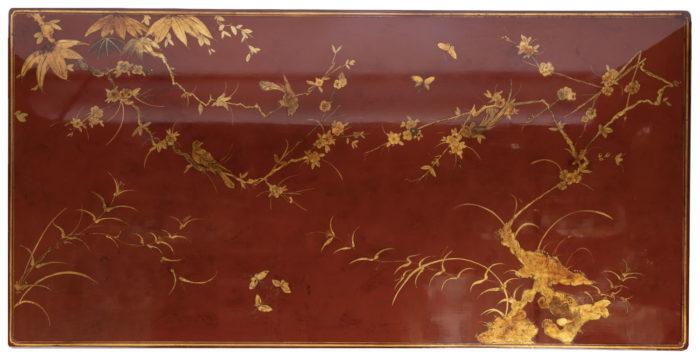 table basse laquée rouge plateau