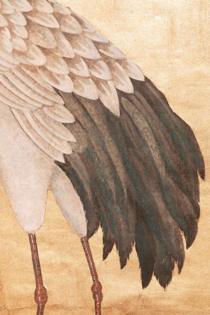 toile fond or détail plumage des grues