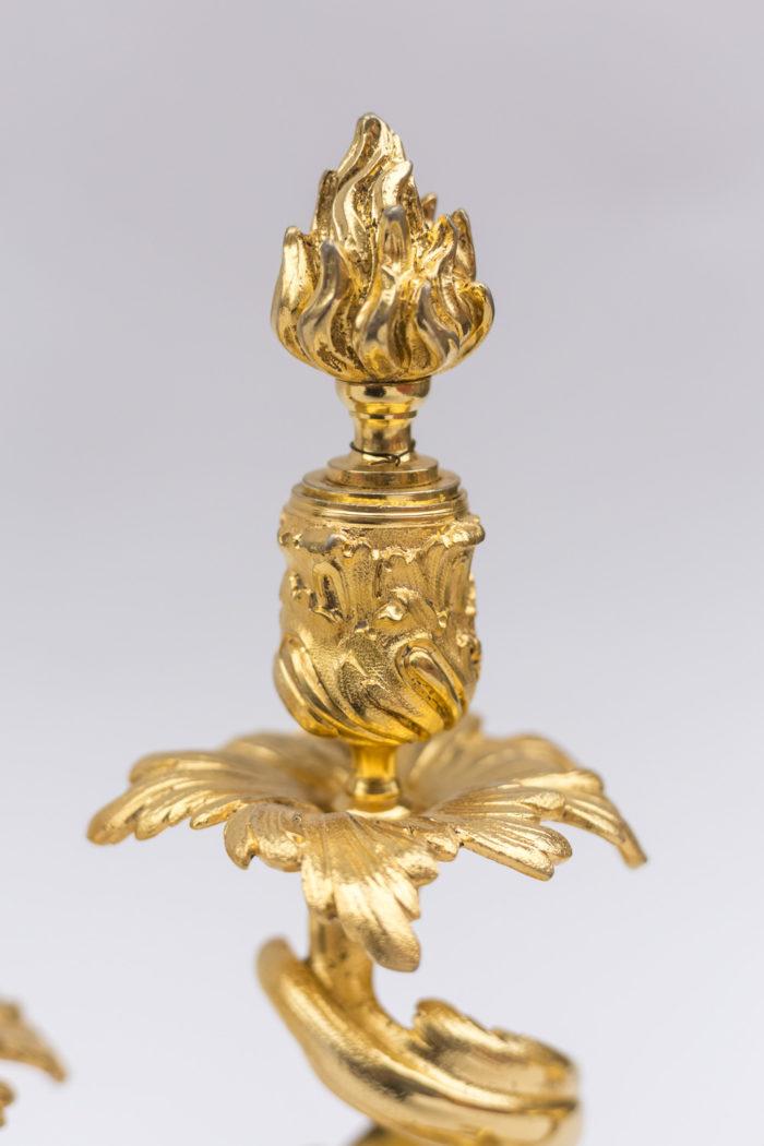 torche candélabre bronze doré