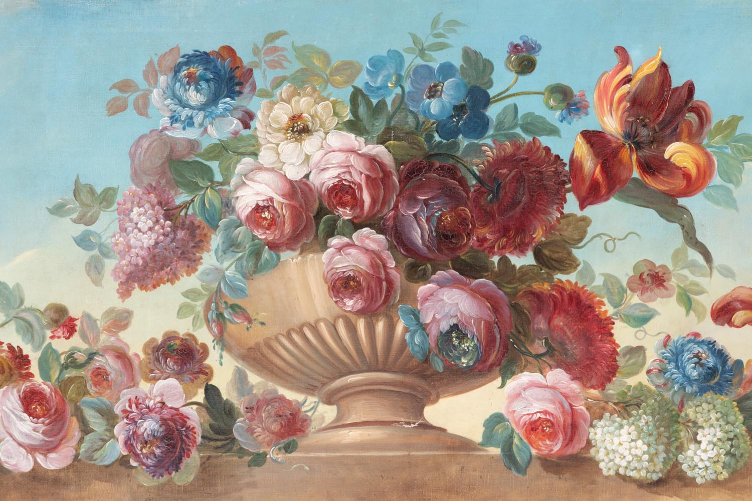 Jean-Luc Ferrand Antiquaire & Pair of oil on canvas figuring flowers in vases circa 1900