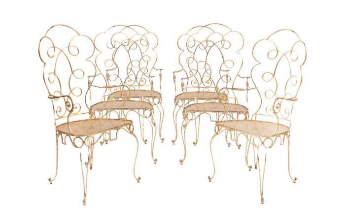6 gilt wrought iron chairs