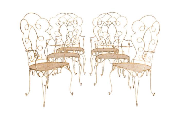6 chaises fer forgé doré
