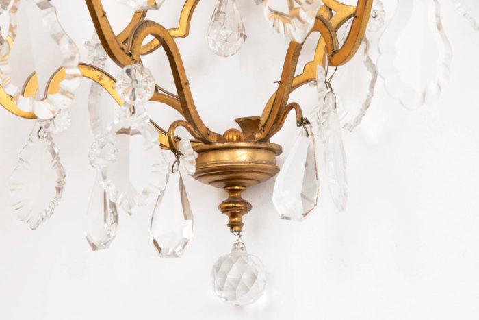 applique bronze doré à pampilles cristal