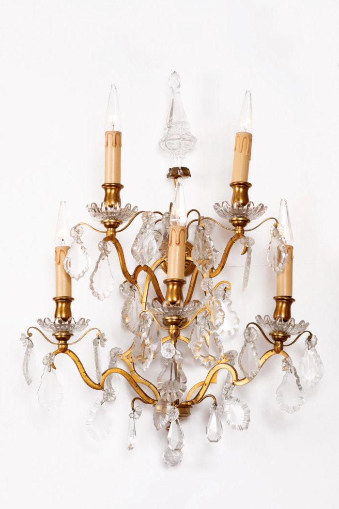 applique bronze doré à pampilles cristal solo