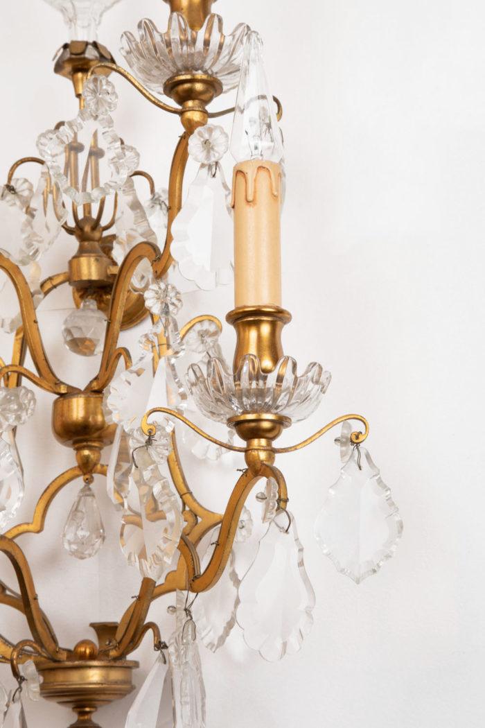 applique bronze doré pampilles cristal bras droit