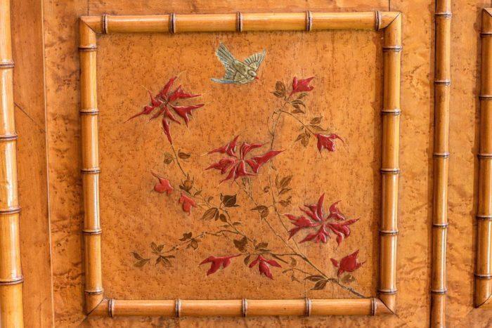 armoire bambou japon fleurs oiseau