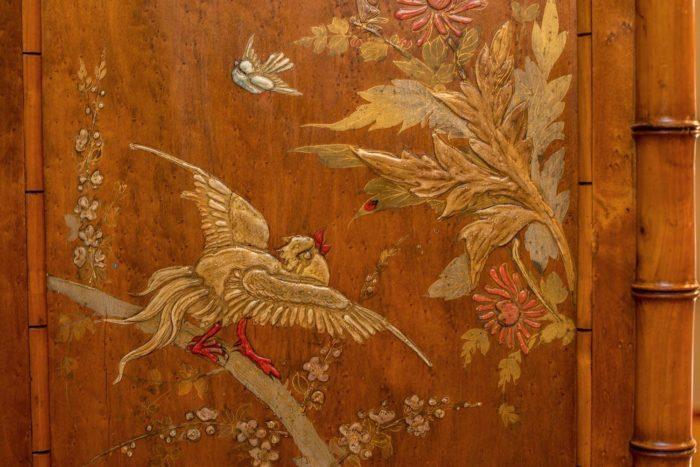 armoire bambou japon oiseau insectes fleurs