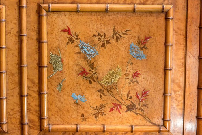 armoire bambou japon oiseaux chrysanthèmes