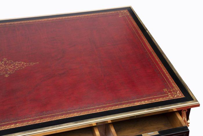 bureau sormani cuir rouge frises or