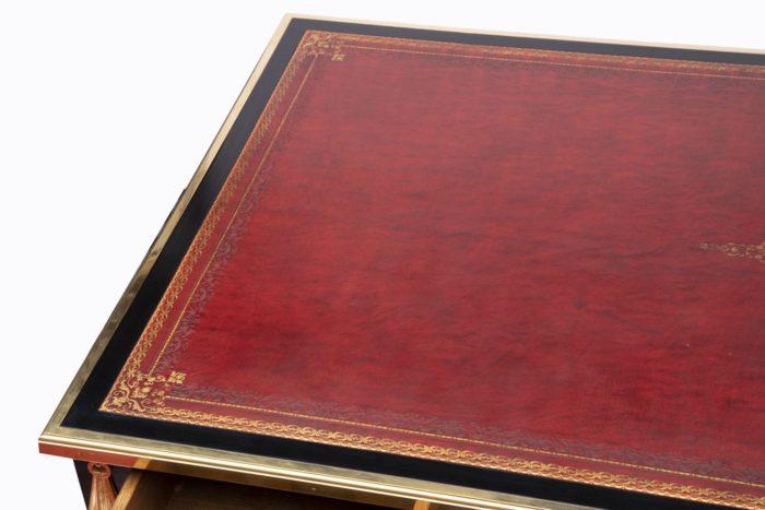 bureau sormani plateau cuir rouge or