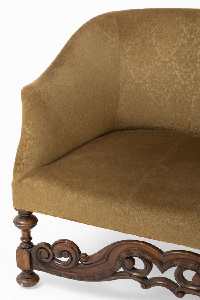 canapé style anglais bois sculpté gauche