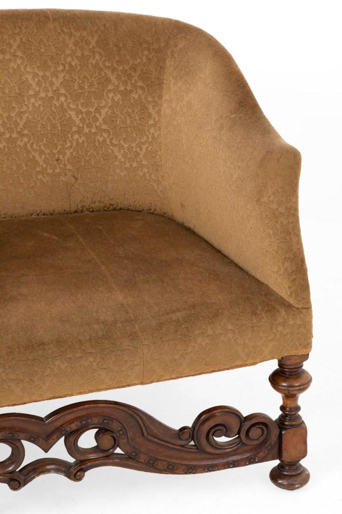 canapé style anglais côté droit bois sculpté