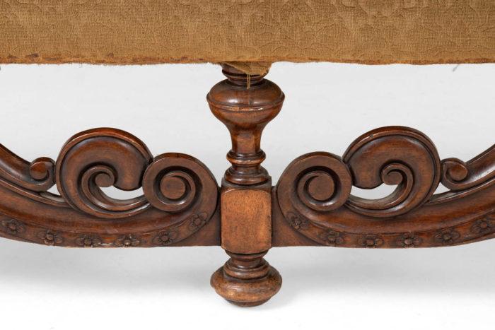 canapé style anglais jacobin volutes pied central bois sculpté